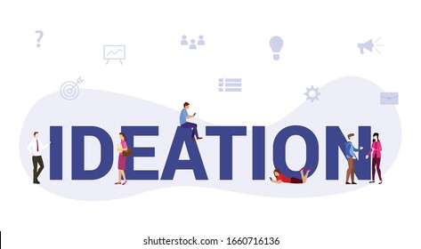 ideation business process concept with big word or text and team people with modern flat style - vector