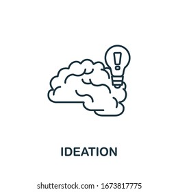 Ideation icon from life skills collection. Simple line Ideation icon for templates, web design and infographics