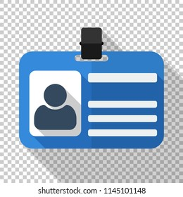 Identification card flat icon in flat style with long shadow on transparent background