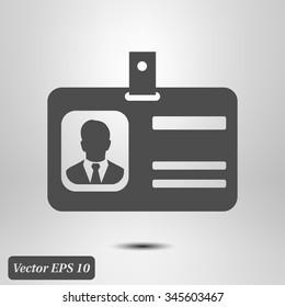 Identification card icon. Flat design style. EPS 10.