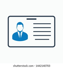 Identification card icon. Flat style vector EPS.