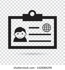 Identification card icon on transparent background. Access cardholder people business concept. Eps 10 vector illustration.