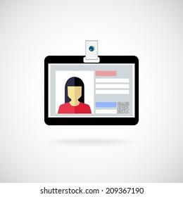 Identification card icon. Vector illustration. Lanyard visitor