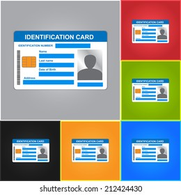 Identification Card Isolated on Color Background. ID Card Icons Set.