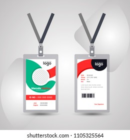 Identification card with lanyard set isolated vector illustration. Blank plastic access card, name tag holder with pin ribbon, corporate card key, personal security badge, press event pass template.