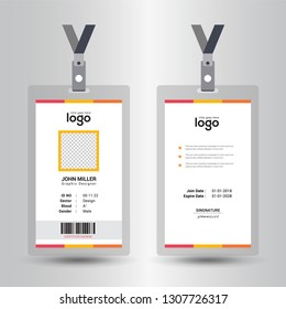 Identification card with lanyard set isolated vector illustration. Blank plastic access card, name tag holder with pin ribbon, corporate card key, personal security badge, press event pass template. -