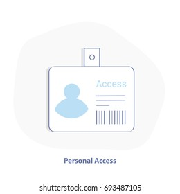 Identification card, Pass, Access control, ID Card illustration icon. Personal identification vector icon in flat line style.