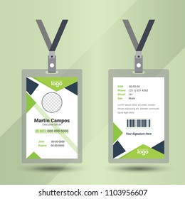 Identification card vector illustration. Blank plastic access card, name tag holder with pin ribbon, corporate card key, personal security badge, press event pass template.