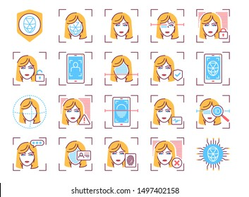 Identification face color line icons set. Recognition person concept. Biometric security element. Deep face. Blocked user, unlock access, deleted profile, ID polygonal grid  Editable stroke.