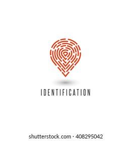 Identification personal fingerprint creative idea detective agency logo, identity person navigation pin icon