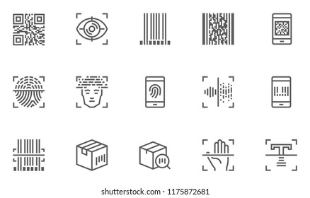 Identification, Recognition Vector Line Icons Set. Biometric Verification, Authentication Technology, QR Code, Barcode Scanning. Editable Stroke. 48x48 Pixel Perfect.