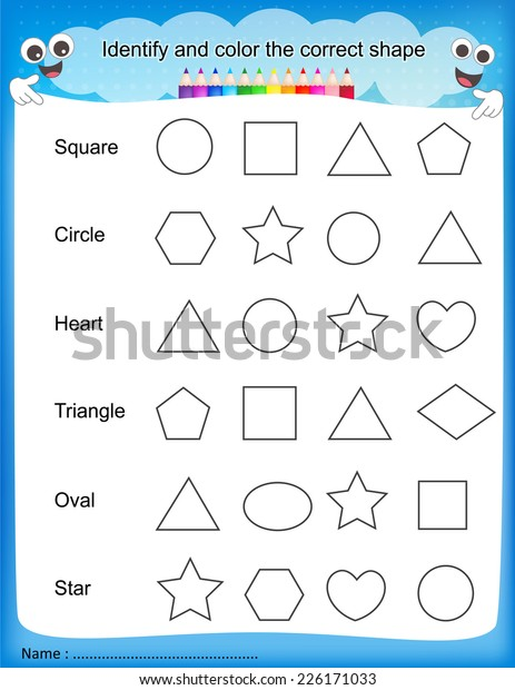 photograph relating to Color by Shape Printable named Realize Colour Acceptable Form Colourful Printable Inventory Vector
