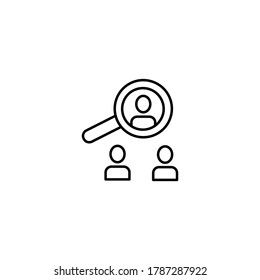 Identify, target audience simple thin line icon vector illustration