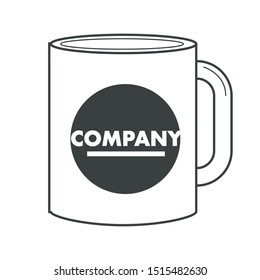 Identity, business corporate souvenir, promotion on cup or mug isolated object vector. Badge, kitchen item, print office, branded business stationery. Gift or present, printing house, company name