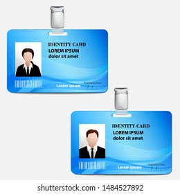 Identity card mock up for men and women. Vector illustration.