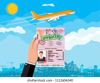 Identity card, national id card, passport card with visas stamps in hand. Passenger jet plane in air. Clouds, sky and sun. Cityscape. Vector illustration in flat style