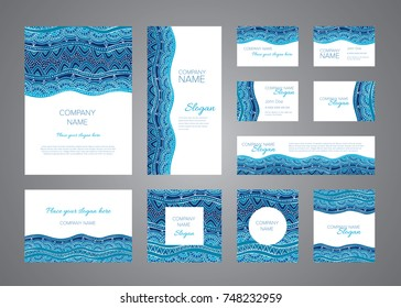 Identity design vector template set. Blue sea mosaic ornaments for folders, blanks, business cards, postcards, invitations and banners. Hand drawn decorative oriental elements and graphics