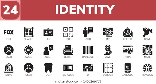 identity icon set. 24 filled identity icons.  Simple modern icons about  - Fox, Shapes, ID, QR, User, Mp, Letter, Dove, Code, Barcode, Owl, Https, Maze, Tooth, d, Border, Peacock