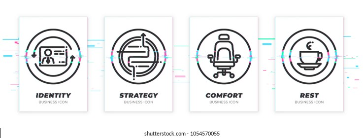 Identity, strategy, comfort, rest. Business theme glitched black icons set. Scalable vector objects on transparent background. Modern distorted glitch style.