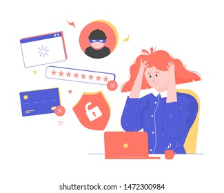Identity Theft, girl at the computer, account hacking, user forgot password, laptop with shield and bank card, excited woman flat character cartoon vector