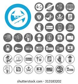 Identity Theft icons set. Illustration EPS10