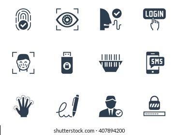 Identity verification security system icon set