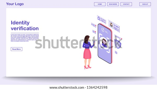 Identity Verification Webpage Vector Template Isometric Stock Vector
