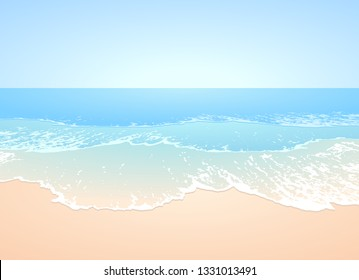 Idillic pale blue, turquoise waves and smooth sandy beach landscape at the ocean - vector image