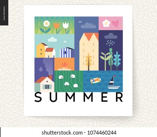 Idillic summer landscape postcard - countryside, town, travel, vacation camp concept - collage of trees, flowers, field with sheep, lake, sea waves with sail boat, resting man on inflatable mattress