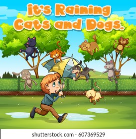 Idiom expression for it's raining cats and dogs illustration