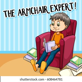 Idiom poster for armchair expert illustration