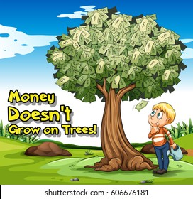 Idiom poster with money doesn't grow on trees illustration