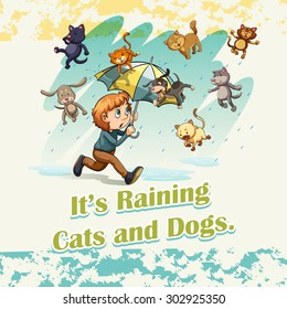 Idiom raining cats and dogs illustration