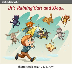 An idiom showing a rain with cats and dogs
