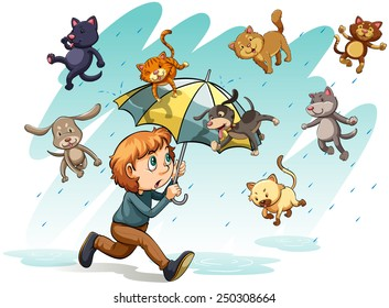 An idiom showing a rain with cats and dogs on a white background