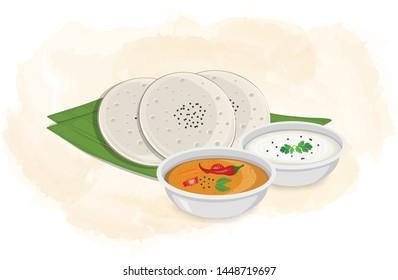 Idli Sambar vector illustration with coconut chutney