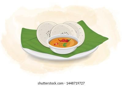 Idli with Sambar vector illustration with green leaf