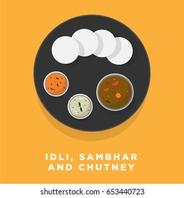 Idli Vector Illustration. South Indian Idli, Sambhar and Chutney Concept. Indian Cuisine Meal / Dish
