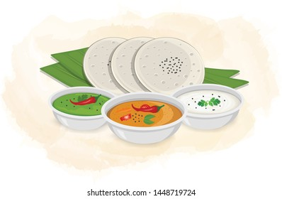 idly sambar with chutney vector illustration