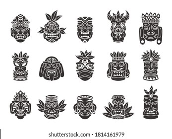 Idol mask. Black silhouette ritual totem tribal god tiki ancient indian or african culture, traditional exotic mayan or aztec wooden symbol, polynesian tattoo pattern face masks vector isolated set