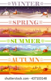 Idyllic farming landscape flayer design set with text logo Winter, Spring, Summer, Autumn. Villa houses, church, barn, mill, cow, horses, sheep and country roads. Four seasons year calendar set.