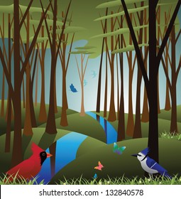 Idyllic forest with birds and butterflies.  EPS 8 vector, grouped for easy editing. No open shapes or paths.