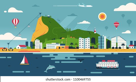 Idyllic Gibraltar landscape with green Gibraltar rock, sandy beach, modern buildings and sail ship. Summer vacation on sea banner. Travel island in flat style.