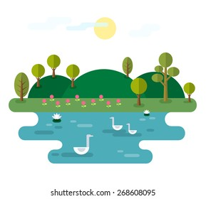 Idyllic landscape with lake. Illustration with Nature scene, with hills, trees, pond with water lilies and swans. Elements useful for infographics. Trendy flat style. Vector file is EPS8.