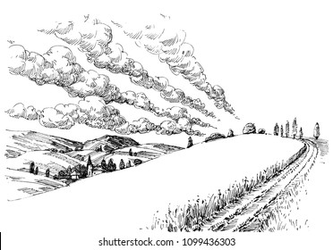Idyllic landscape sketch. Small village, summer clouds in the sky and a pathway on the hill