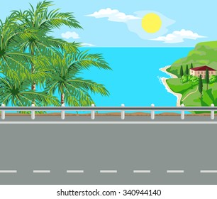 Idyllic seascape. Palm trees, road and house with red roof on the island.