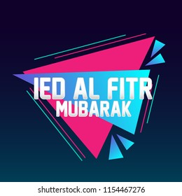 ied al fitr mubarak has mean muslim event, beautiful greeting card with triangle illustration for market theme, vector background, poster or banner, sign