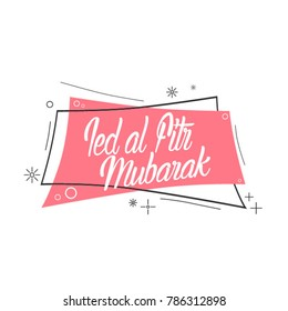 ied al fitri mubarak has mean muslim event, beautiful greeting card with pink label