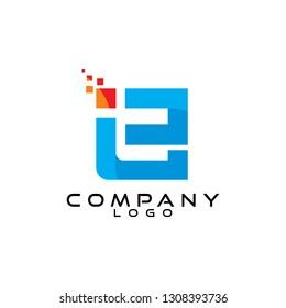 ie/ei letter tech and it logo design vector
