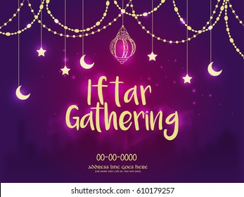 Iftar Gathering Invitation Background, Ramadan Concept.